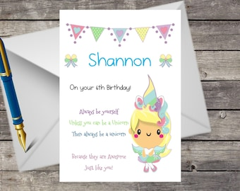 Handmade Personalised Birthday Card, A5 with Envelope,Always be a Unicorn any message Any Name