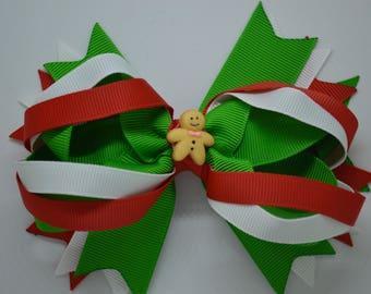 Anne's Christmas Gingerbread Men -  Hair Bow Clip - 12.5cm