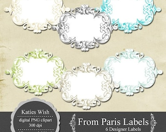 From Paris Labels PNG Clipart Digital Journaling Tags Instant Download for scrapbooking, invitations, stationary design