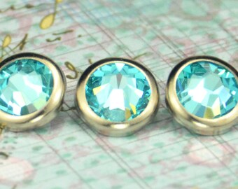 10 Light Turquoise Crystal Hair Snaps - Round Silver Rim Edition -- Made with Swarovski Crystal Element Rhinestones