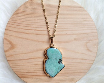 Long Turquoise Slab Necklace