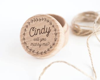 Personalised 'Marry Me' Ring Box, Engagement Ring Box with Name, Engraved Wood Box (OHSO833) 41D3