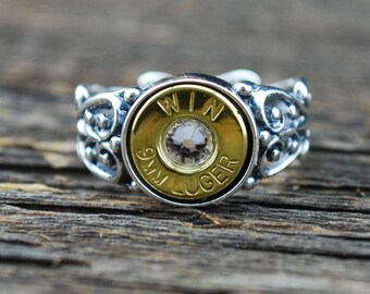 9mm Bullet Ring – Womans Ring with Genuine Bullet Casing in Sterling Silver with Swarovski Birthstone Crystal