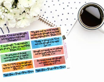 Planner Stickers | Watercolor Scripture Boxes|Watercolor Scripture Strips|Faith Stickers|For use in various planners or journals|RB021