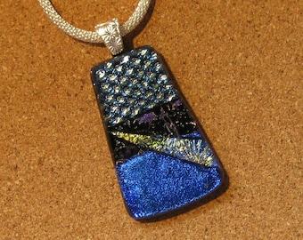 Dichroic Pendant - Fused Glass Pendant - Dichroic Jewelry - Dichroic Necklace - Blue Dichroic Pendant - Fused Glass Jewelry - Glass Pendant
