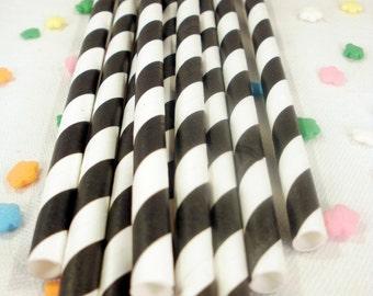 50 Black Striped Paper Straws