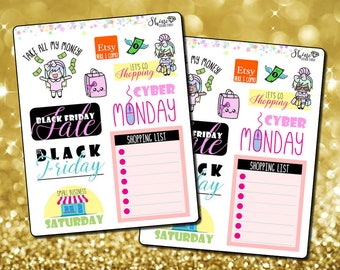 Black Friday Stickers - Planner Stickers Erin Condren Life Planner Shopping Stickers ECLP Stickers Happy Planner Cyber Monday Sale Stickers