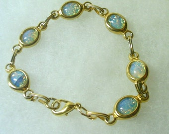 Faux Opal Gold Tone Link Bracelet
