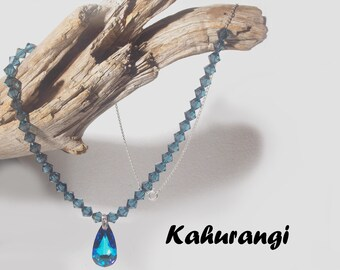 Blue Swarovski necklace,925 Sterling silver,Bermuda blue necklace, Swarovski bermuda necklace,Fashion necklace,montana blue necklace