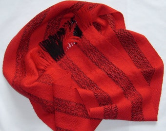 Made to Order Only, Red and Black Long Scarf in Soft Pure Wool, Hand Woven Classic Fashion Scarf