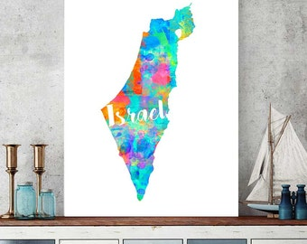 Israel Map Print, Israel Printable Map, Israelian Gift, Wall Art Decor, Watercolor Print, Instant Download, Middle East Country Map