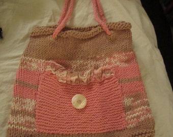 Vintage Pink Knit Tote Drawstring Bag Purse Cotton Yarn