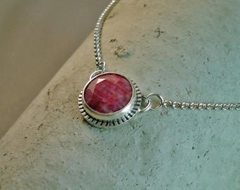 """Natural Ruby Sterling Oxidized Round Pendant with 19"""" Sterling chain"""