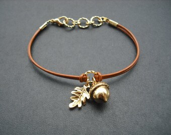 Antique Gold Bracelet with Acorn, Oak Leaf, Bridesmaid Gift, Wedding Gift, Flower Girl Gift, Birthday Gift