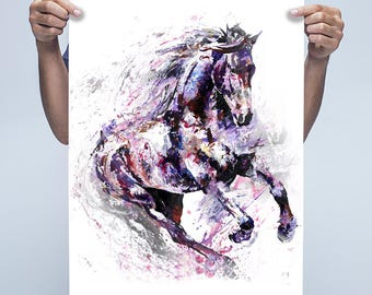 Limited edition run of 50 animal artwork Equine canter print, horse art watercolor individually signed contemporary LIMITED NUMBERS LEFT
