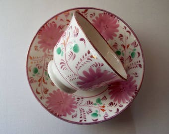 Pink Lustreware Teacup. Victorian Pink Tea Cup and Saucer Hand Painted With Pink Flowers. A Very Rare Antique English Lustreware Teacup