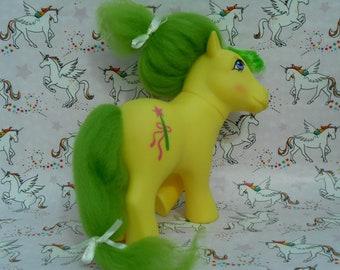 My little Pony G1 Magic Star - Perfume Puff Style - Custom Rehair -  vintage G1 My little Pony - magic wand