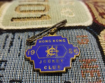 All Original Royal Hong Kong Jockey Club Enamel Brooch Badge 1956