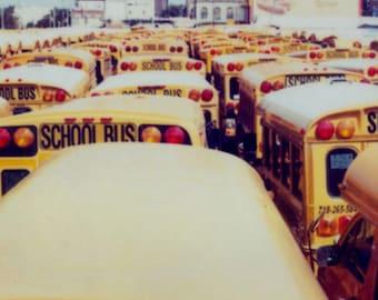 a herd of school buses - ACEO, mini-print