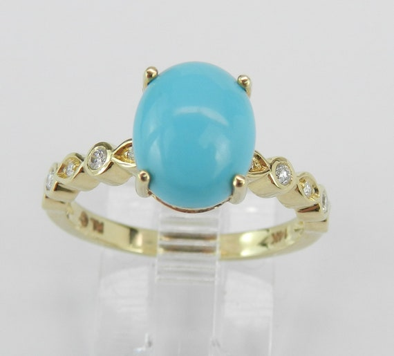 14K Yellow Gold Diamond and Turquoise Engagement Promise Ring Size 7 Sleeping Beauty Color