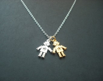Matte Adorable Robot Charm necklace - white gold plated chain