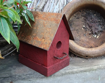 Rustic Birdhouse Outdoor Birdhouse Garden Decor Old Red Farmhouse Cottage Rusty Metal Roof Handmade