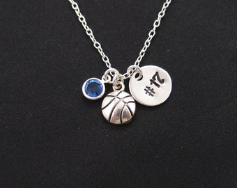 basketball necklace with hand stamped player number, sterling silver filled, birthstone necklace, silver basketball charm on silver chain