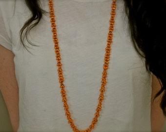 BoHo Tangerine Bead Wood Necklace