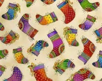 Laurel Burch Fabric Stocking on Ivory Background 1 Yard