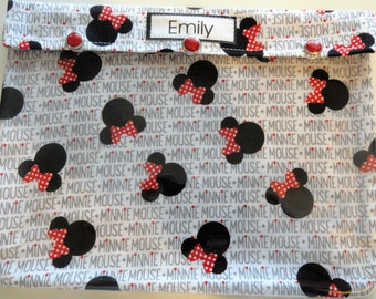 Minnie Mouse Clear Pouch 7x9 Organizer First Aid Medications Cosmetics Diaper Bag Ouch Pouch Personalized Fish Extender Cruise Gift Under 20