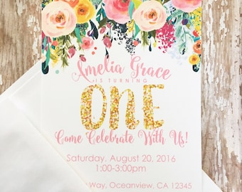 12 floral first birthday invitations, printed 1st birthday invitations, gold glitter flower invites, first birthday floral invites