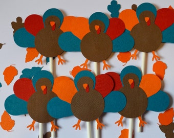 Turkey Thanksgiving Cupcake Toppers By The Dozen 12 Teal, Red, Orange and Brown