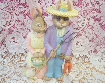 American Gothic Easter Bunny Figurine