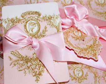 Marie Antoinette Invitations, Wedding, Shower, Engagement, Birthday,  Baptism, Save the Date Cameo Invitations