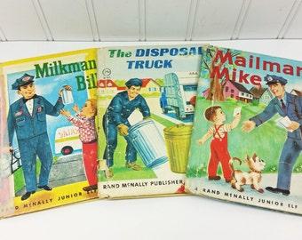 Mailman Mike, Milkman Bill, The Disposal Truck, Three 1960s Rand McNally Elf Books