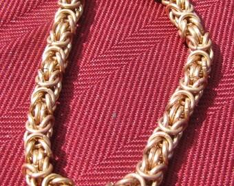 Brass Chainmaille Byzantine Bracelet