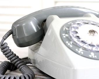 """Vintage French phone grey with the """"Mother-in Law"""" listener. French industrial phone 80s. French post. Rotary telephone. Phone electronic."""
