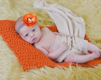 Newborn Baby Blanket Baby Gift Newborn Baby Girl Blanket Newborn Baby Boy Blanket Basket Filler Newborn Photography Props Orange Pumpkin