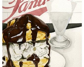 Sanders Hot Fudge Cream Puff Watercolor Print