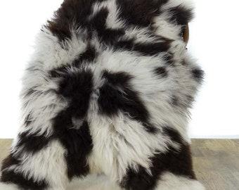 Large Long Wool White with Dark Spots Sheepskin Rug / Throw