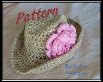 PDF Cowgirl Hat  Crochet PATTERN with Bonus Flower Clip-Baby Cowboy Hat - Crochet Pattern - Crochet cowgirl Hat Pattern -by JoJosBootique