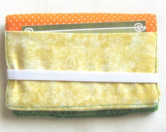 Business Card Holder Mini Wallet- Bifold Inside Outside Wallet in Bright Green Orange and Yellow Fabric