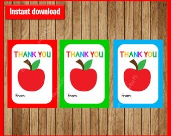 Thank you Teacher Appreciation Gift Tag instant download, Printable Teacher Appreciation cards , Teacher Appreciation tags