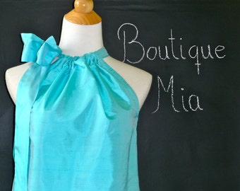 Pillowcase DRESS or TOP - Dupioni Silk - Pick your own COLOR - Made in any Size - Boutique Mia