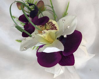 Artificial Wedding Flowers, Ladies Pin on Corsage, Buttonhole, Butonniere, with Purple and Cream Orchids, Diamante, Beargrass