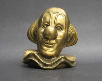 Vintage Brass Clown Head Single Bookend (E9942)