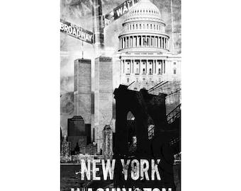 New York, Colorful Wall Art, Digital Art, Printable Poster, Digital Download, Printable Photography, Printable Art,  Photographic Collage