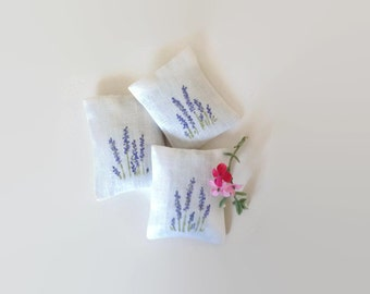 Set of 3 Hand Painted Lavender Sachets, Scented Sachets, Dried Lavender Wedding Favors, Bridal Shower Favors - set of 3