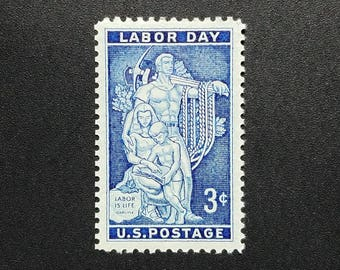 Ten (10) vintage unused postage stamps - Labor Day // 3 cent stamps