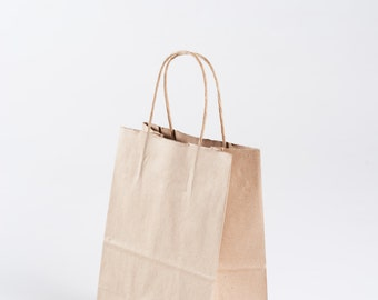 "50 Bulk Kraft Paper Gift Bags with Handles - size Cub - 8"" x 10.25"" x 4.75"""
